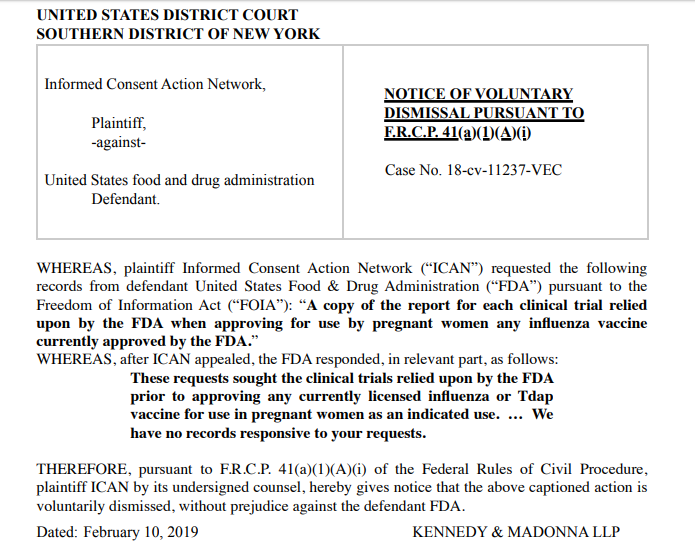 FOIA flu vaccine for pregnant women