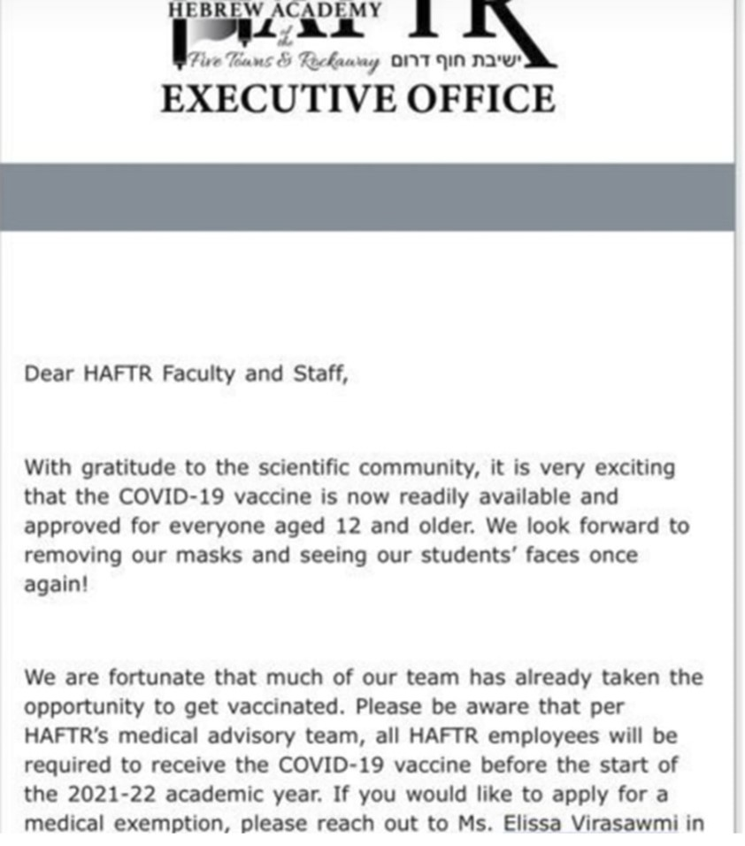 HAFTR vaccine policy