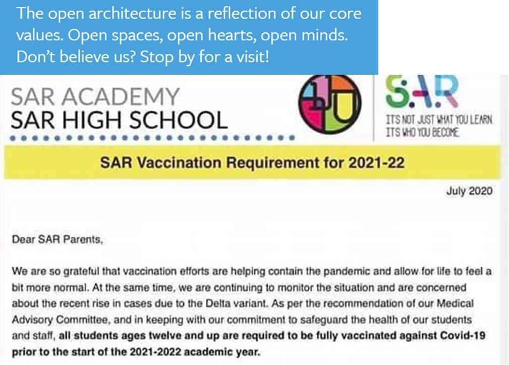 SAR Academy covid vaccine policty