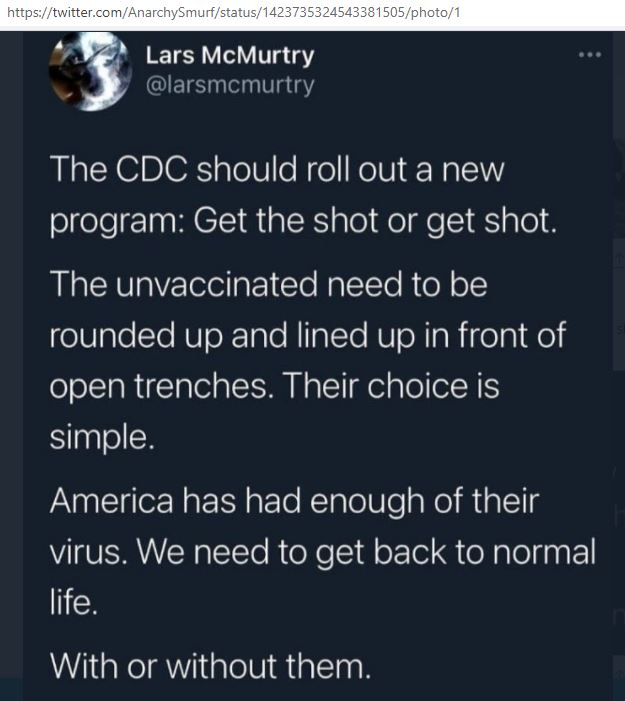 Social media message advocating to shoot unvaccinated people