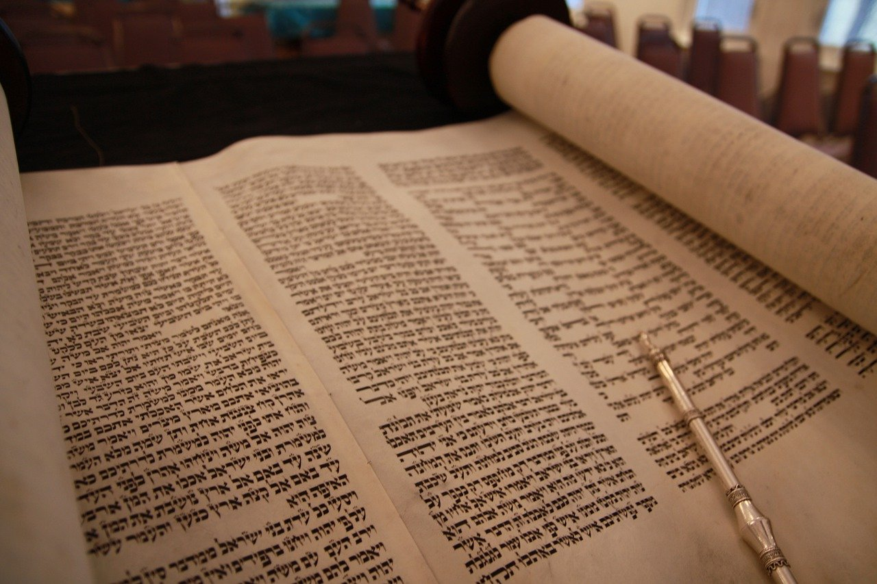 Photo of open Torah Scroll