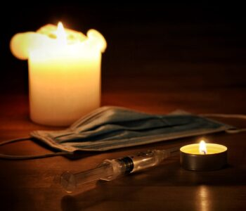 candles, medical mask, syringe