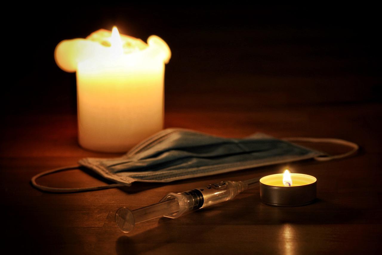 candles, medical mask, syringe