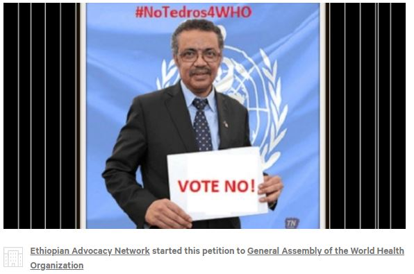 Photo of Tedros against his WHO nomination