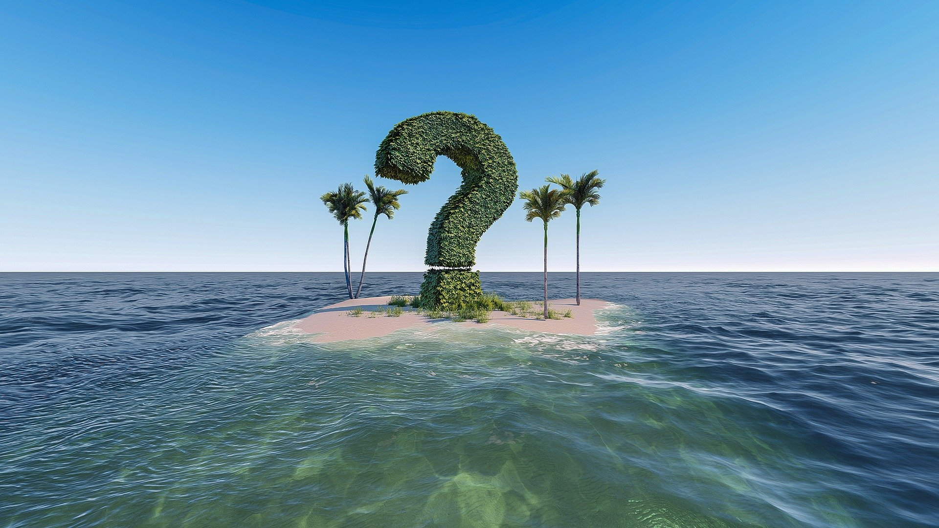 Photo of small island with question mark topiary