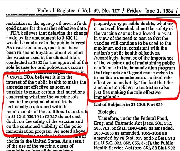 1984 Federal Register on the Polio Vaccine